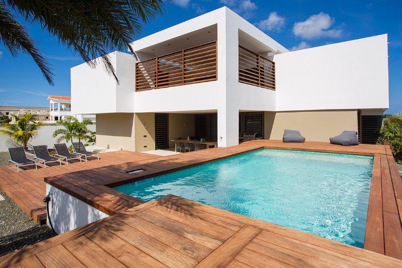 jardin, terrasse, piscine