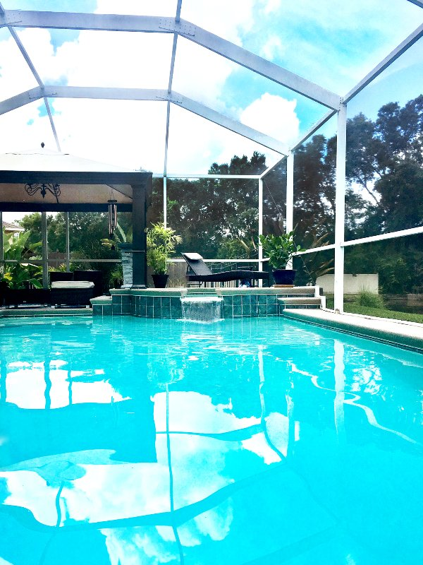 Floating in the Private Pool;  Listening to the Waterfall...Time to Grill Soon!