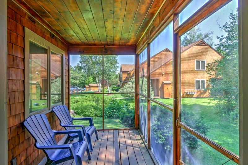 Profitez de la toute saison, projeté dans le porche.
