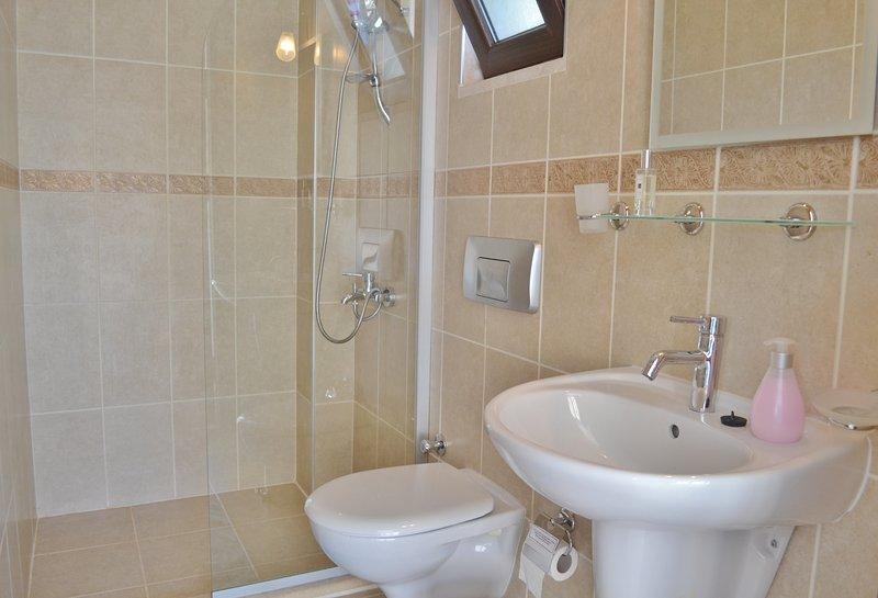 salle de bains entièrement carrelée avec douche style salle d'eau