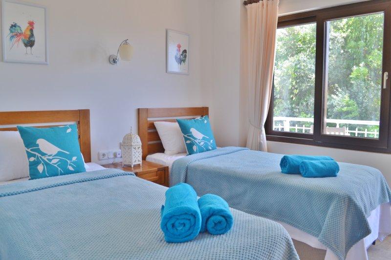 Chambre double a une terrasse privée meublée avec vue sur la piscine et le jardin