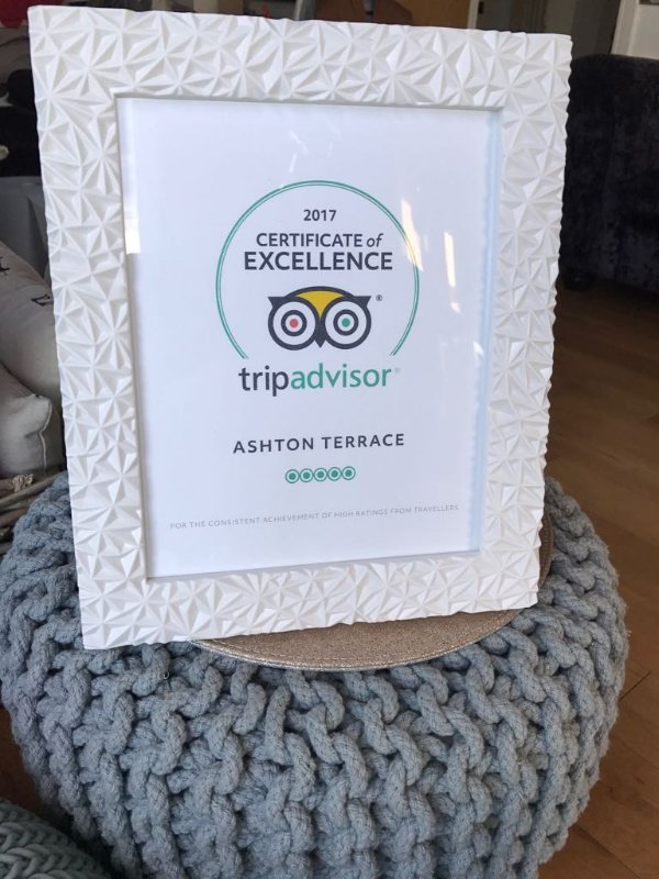 Ashton's 2017 Certificate of Excellence. We now also have our certificates for 2018 and 2019!!