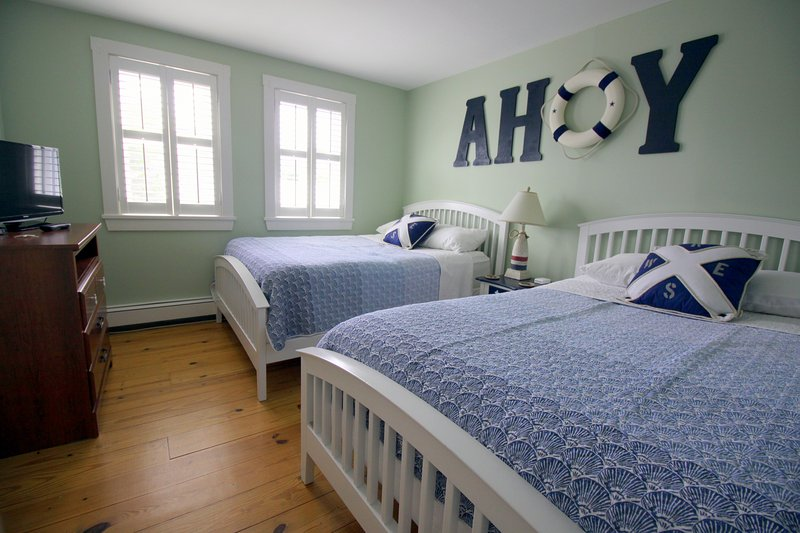 The Ahoy Room with 2 full/double beds allows kids to be together; TV and cable
