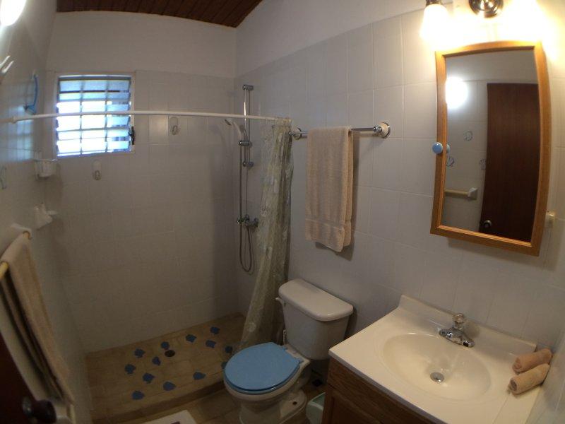 El cuarto del frente baño privado.