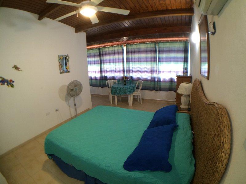 El aire acondicionado dormitorio principal. cama queen, baño privado, sala de cambio / armario