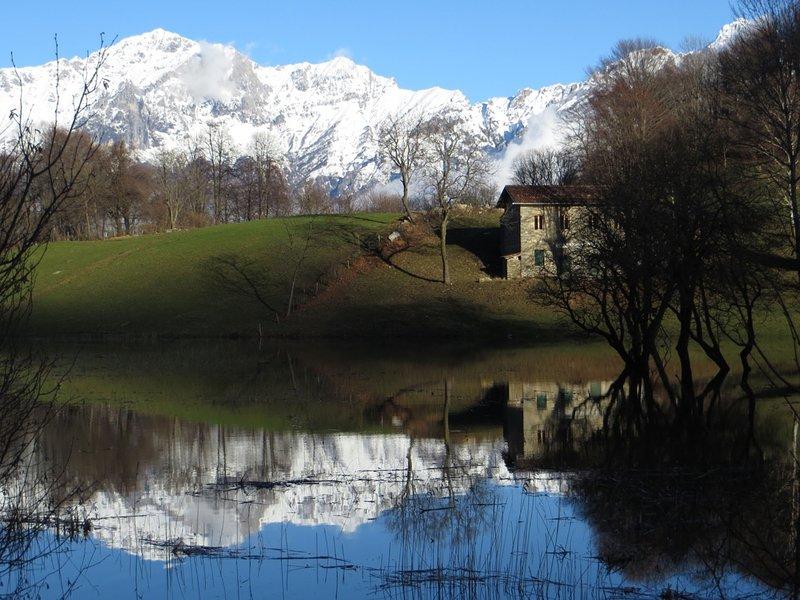 The little lake close to the villa.