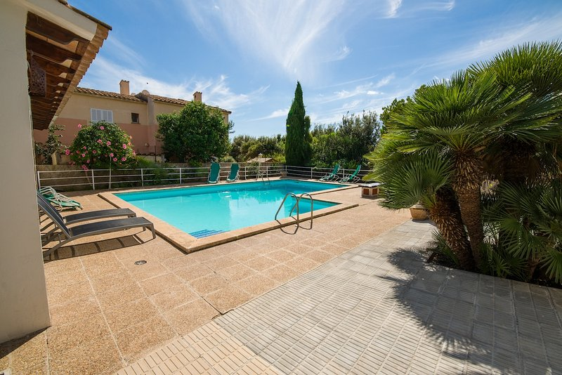 large swimming pool with gardens and sunbathing area