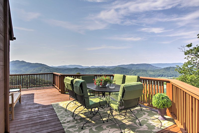Breathtaking mountain views await you at this 3-bedroom, 3-bathroom vacation rental cabin in Wears Valley!