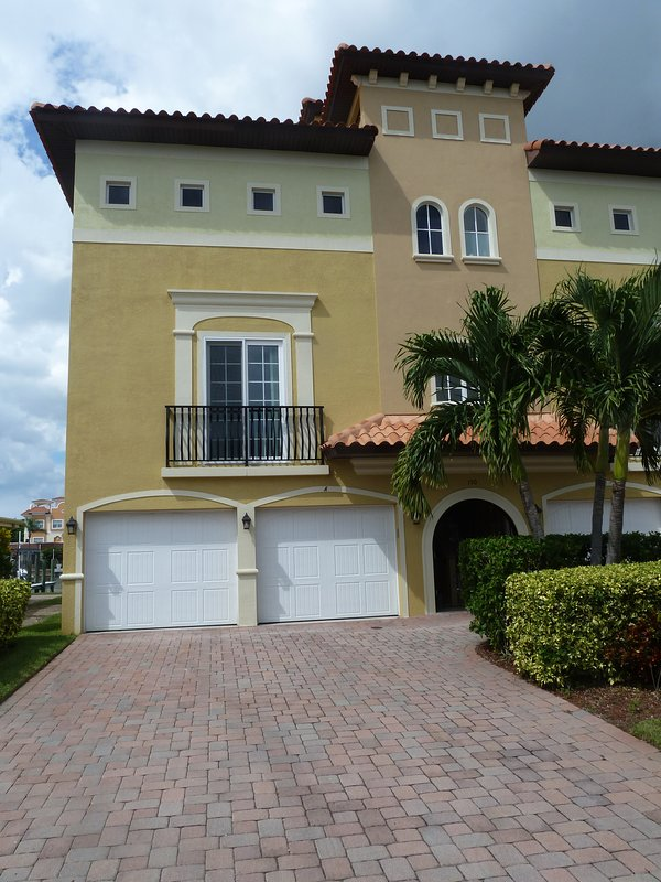 Front of home with two car garage.  Spacious townhome boasts 2400 square feet