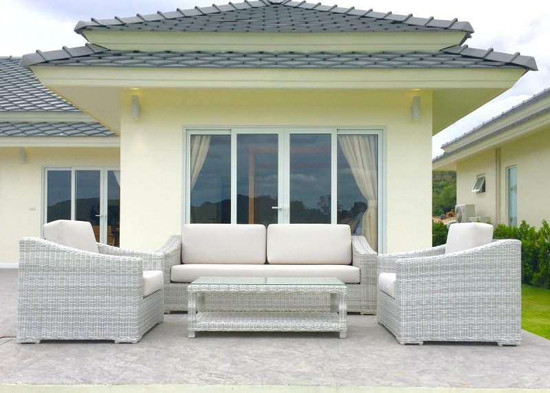 Outdoor seating area on the patio.