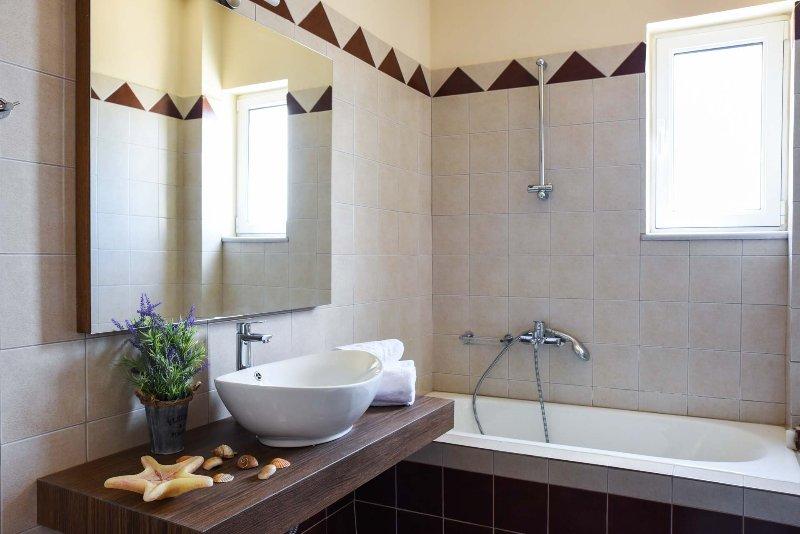 The villa has two bathrooms