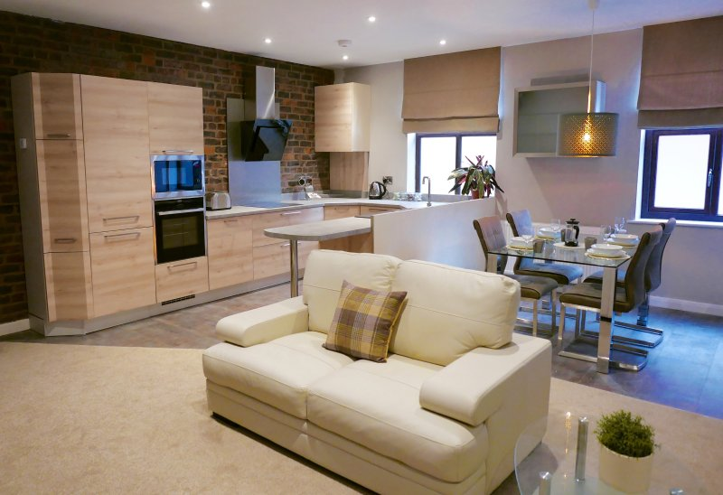 Open plan luxury living accommodation.