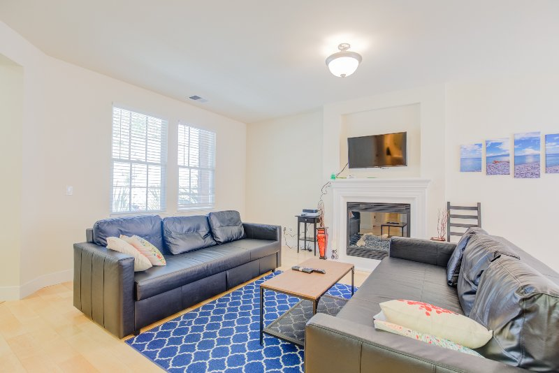 Comfy, spacious living room has a flat-screen TV, fireplace, and 2 plush pullout sofa beds.