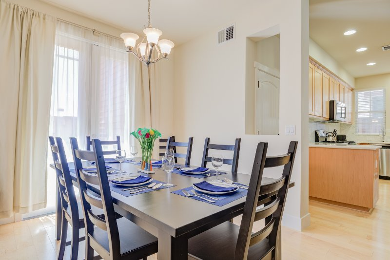 Enjoy a meal at home. The table expands to seat 8 and we have extra chairs:)
