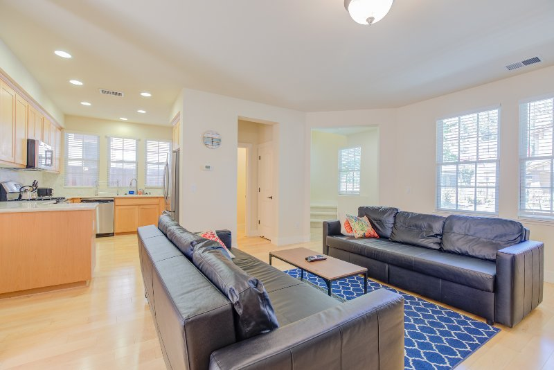 Apartment has an open layout for the dining, living room and the kitchen area.