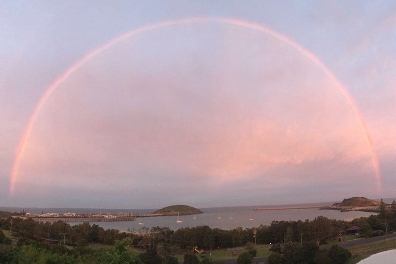 View from our deck ..unfortunately the rainbow is not always there!!