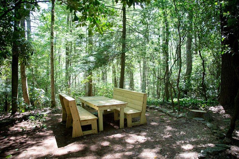 Table de pique-nique dans nos bois.