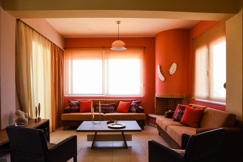 The living room near the main entrance