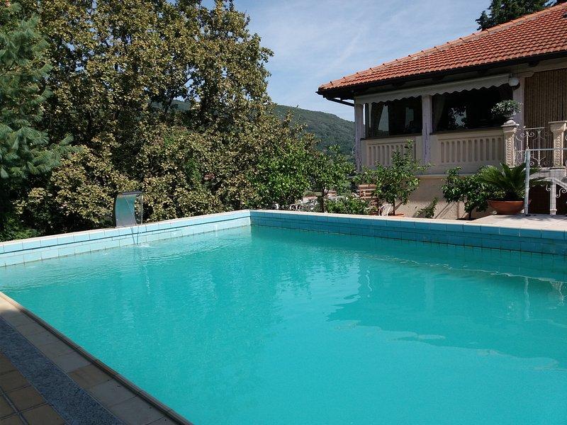 La piscine à la limite des arbres.