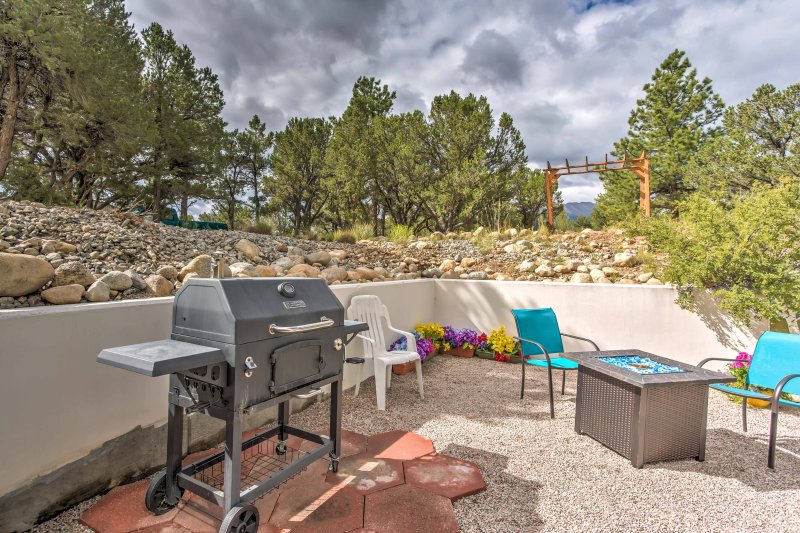 Make use of the vacation rental's charcoal grill for family cookouts