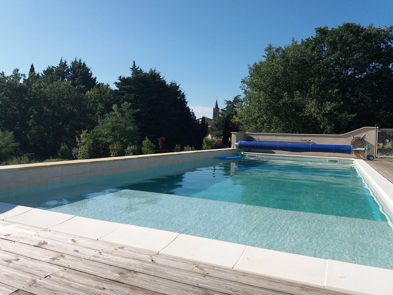 Swimming pool (13x5m) secured with submerged beach and spa area