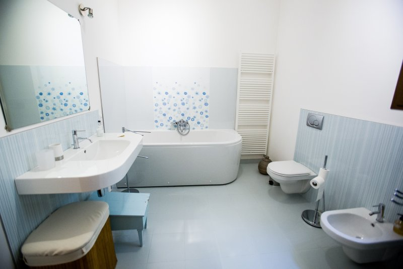 Huge designer family bathroom with bath, shower, bidet, etc...