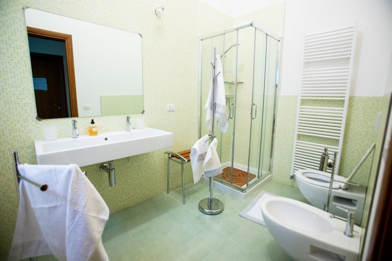 Big bathroom with shower, bidet and double sink.