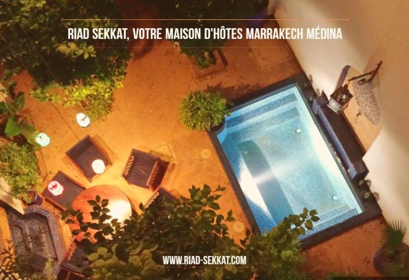 Le patio du Riad Sekkat vu de la terrasse