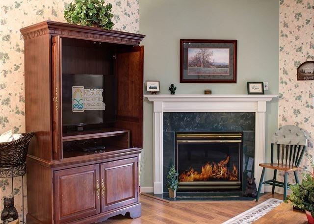 Chimenea de gas de temporada y TV de pantalla plana en la sala de estar