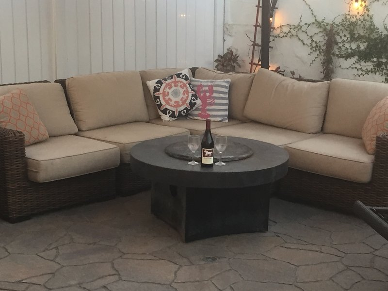 outdoor living room with fire table