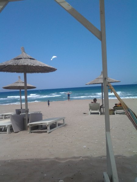 Flying your kite at Naya beach