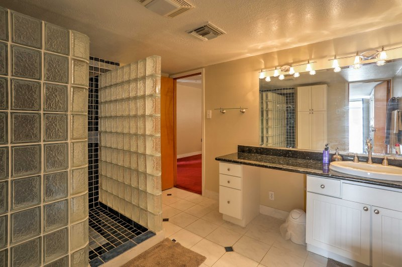 Getting ready is a breeze in this spacious bathroom.