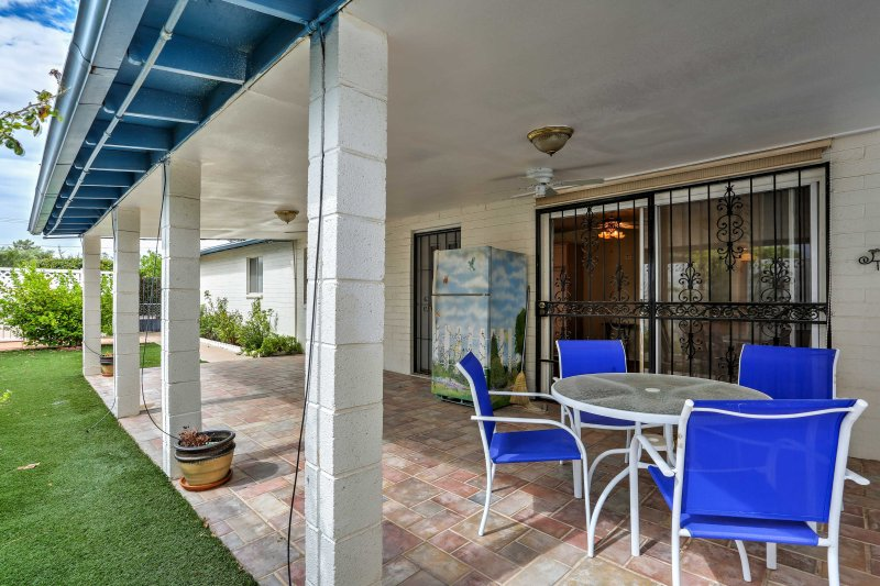 Enjoy your morning coffee on the patio off of the kitchen.