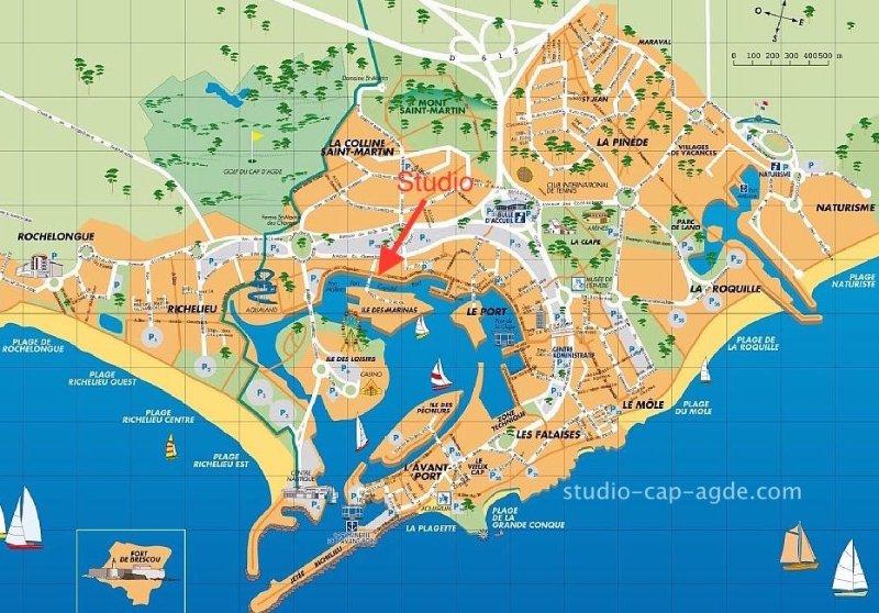 Studio vue mer au coeur du Cap d'Agde