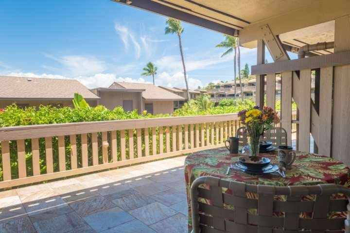 The perfect spot to enjoy your morning cup of coffee on our private lanai.