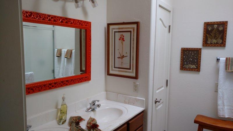 salle de bain attenante est entièrement équipée, avec des serviettes moelleuses!