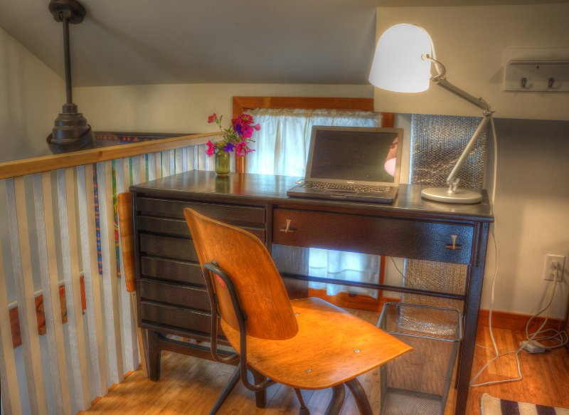Upstairs desk. Floor is bamboo.