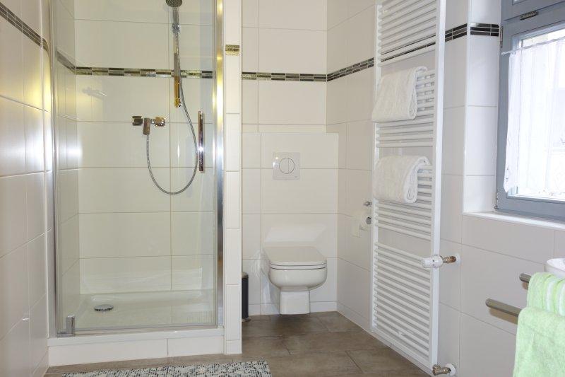 Badkamer met douche, wastafel un WC