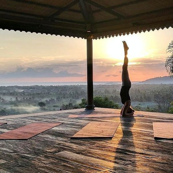 Sumberkima Hill retreat has a very spacious yoga pavilion with amazing sunrise views.