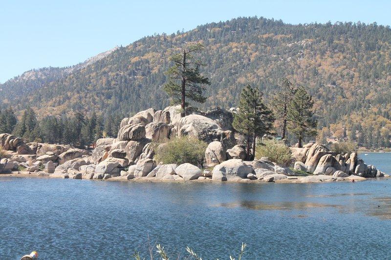 View of lake and rocks.