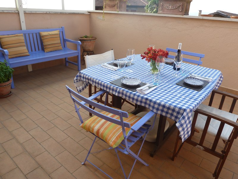 Outdoor Dining on Terrace with Umbrian View
