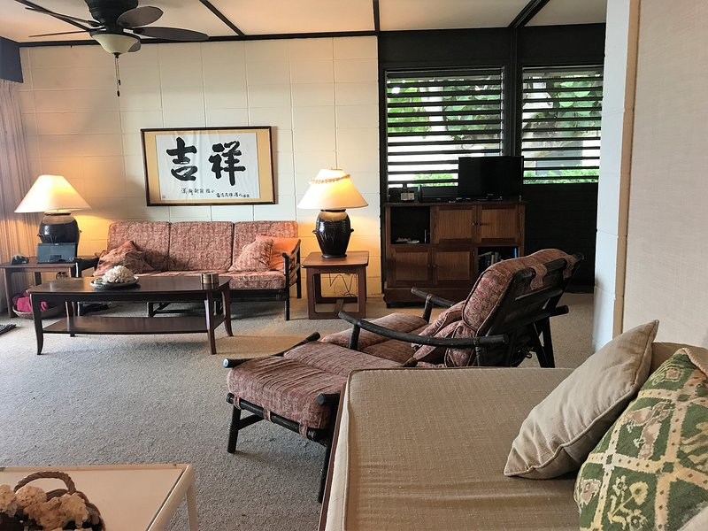 Living area is tastefully decorated in tropical style.