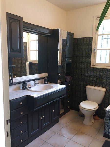 A principal casa de banho com banheira e chuveiro durante o banho, pia, WC. Nota: há também um WC separado.