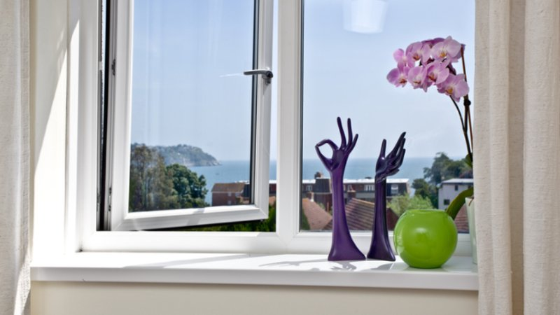 Bedroom 2 windowsill showing the lovely view to sea, about 2 minutes walk to 2 beaches