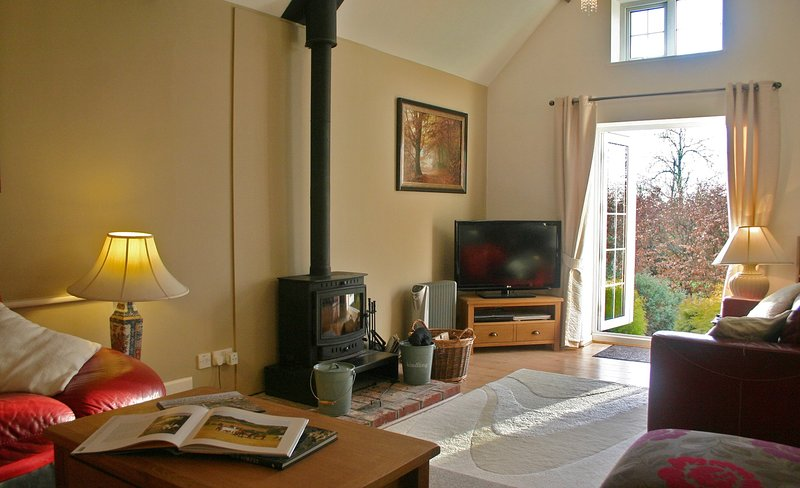 Comfortable lounge area with log burner for cozy winter nights.