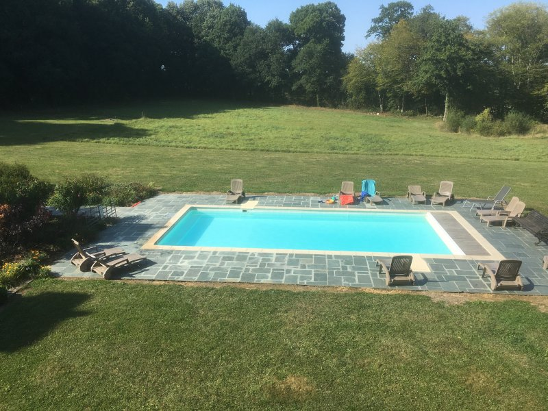 pool with salt water - heated in summer