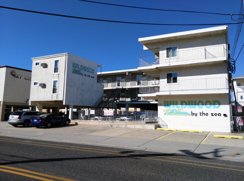 The condo is on the right, top floor corner (Above the Wildwood by the Sea sign)