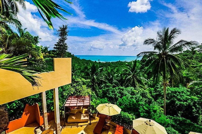View of the surrounding jungle and sea from the resort