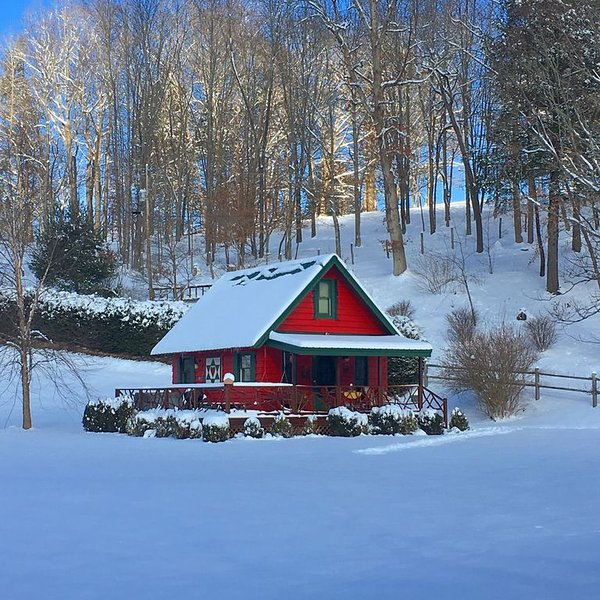 Honeymoon Cabin - Petting Zoo! HOT TUB, 15+ acres, Trout Stream - Everything!!!, holiday rental in Sugar Grove