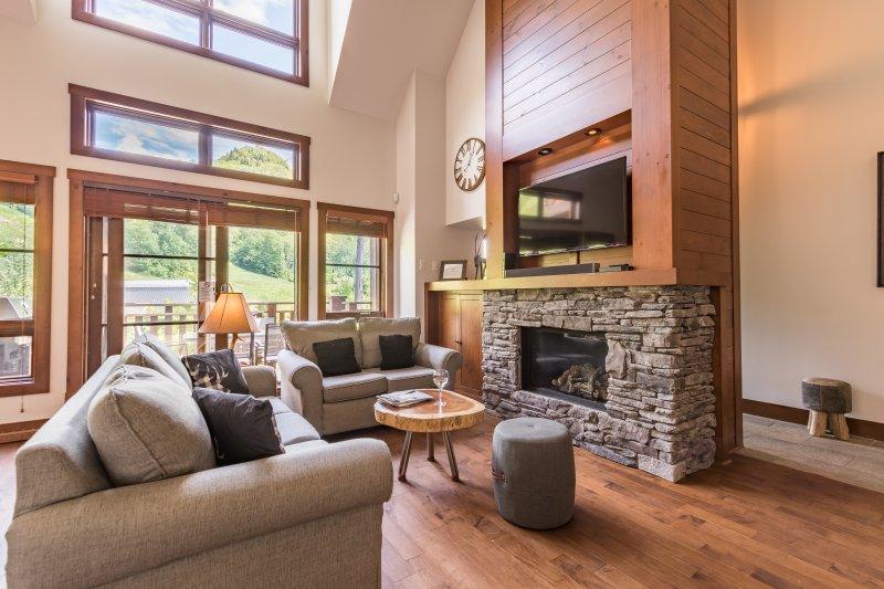 Elegante sala de estar con chimenea de piedra y televisor de pantalla plana